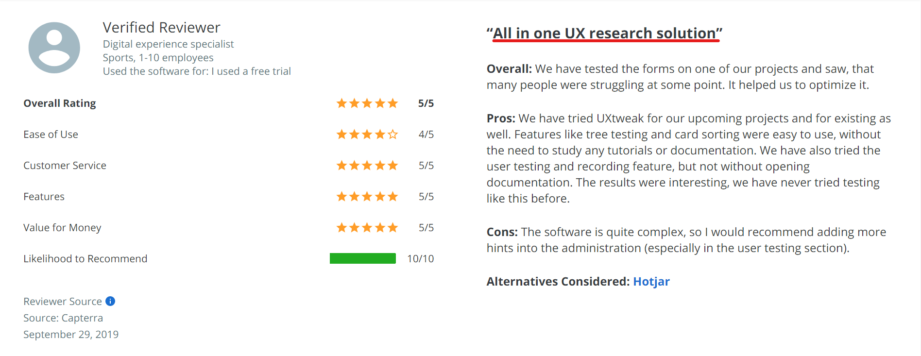 All-in-one UX research solution review of UXtweak