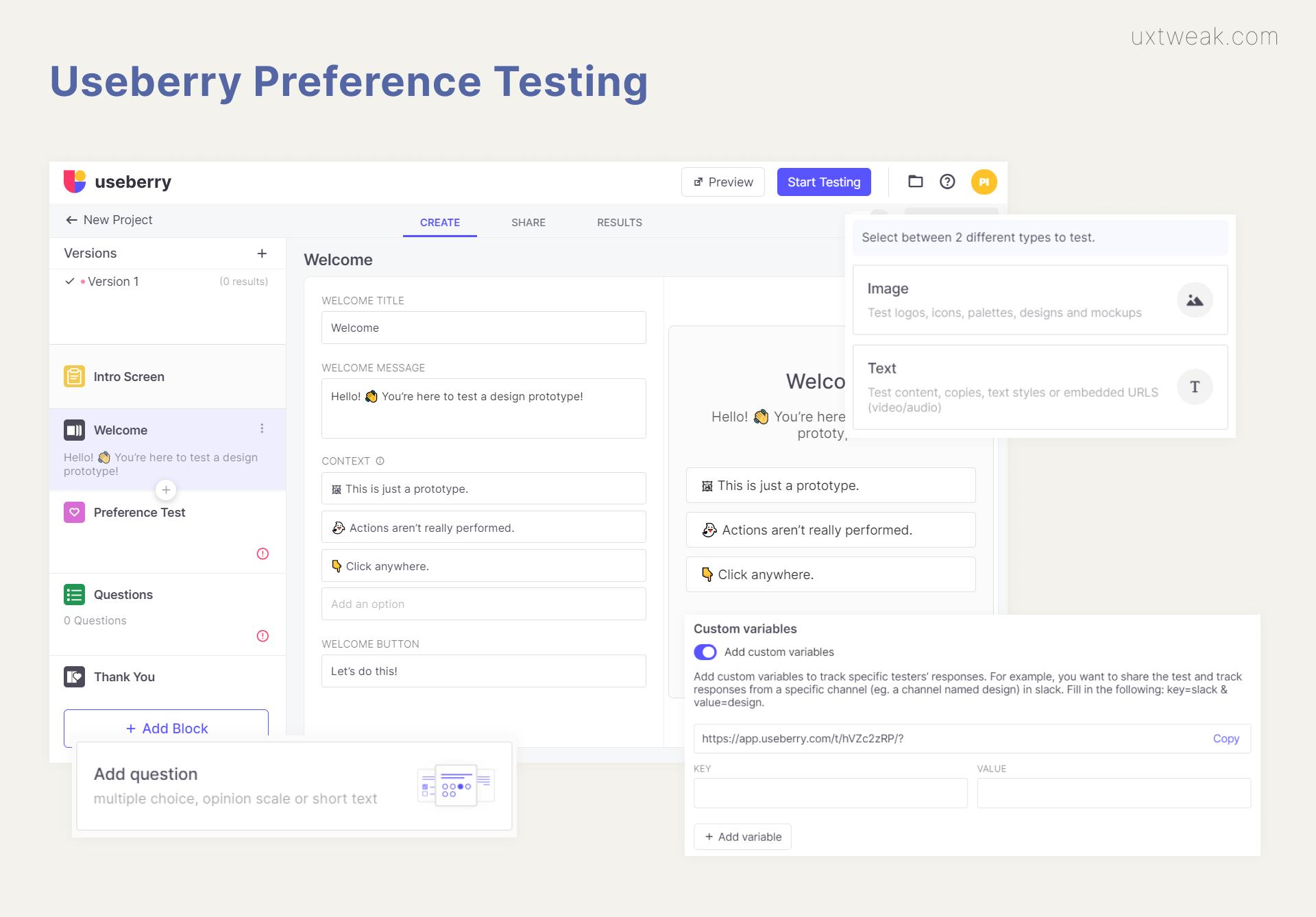 Useberry preference testing tool