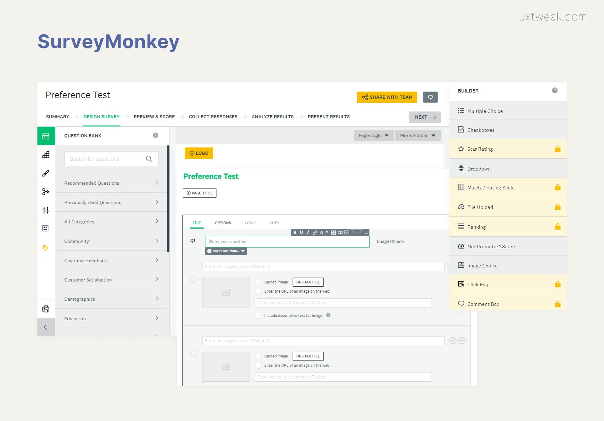 Survey Monkey preference testing tool
